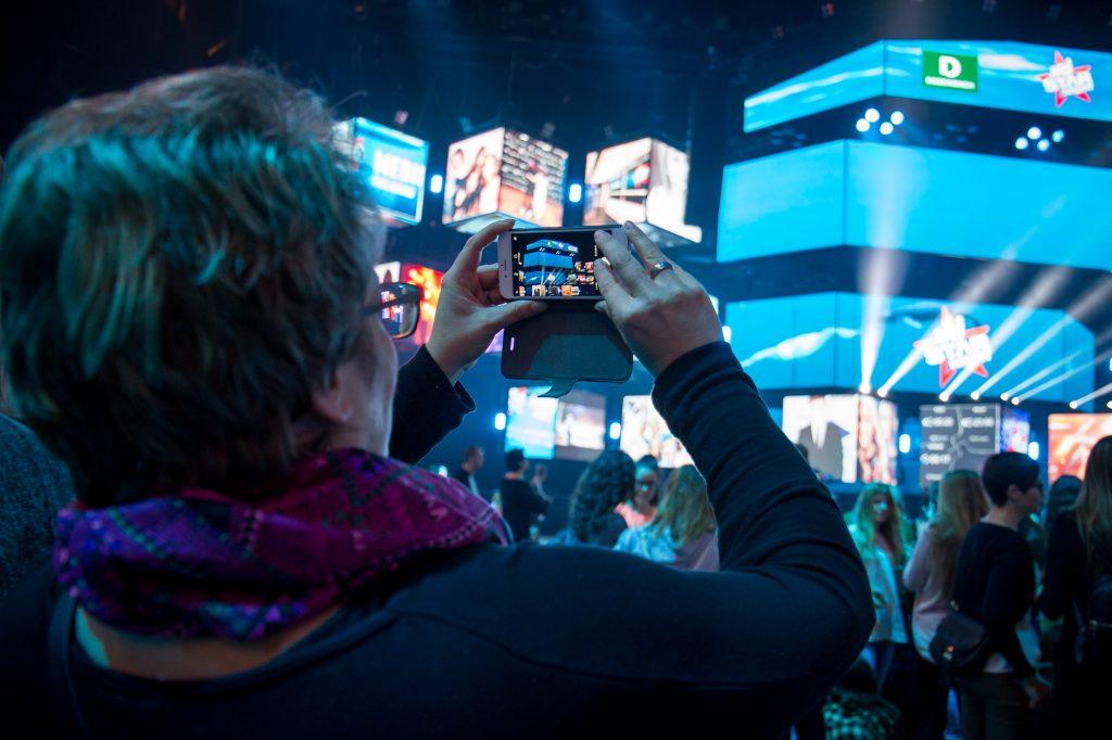A participant sharing content